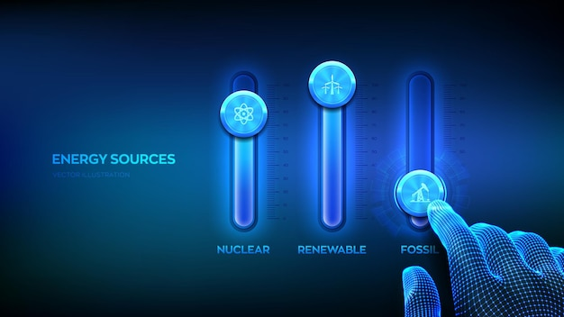 Energy sources control panel for fossil fuel, nuclear fuels and renewable energies. energy industry sectors concept. wireframe hand adjust a energy sources mixer. mixing console. vector illustration.