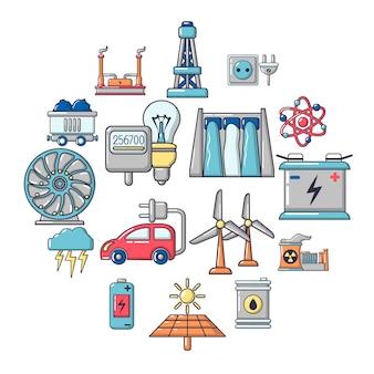 Energy sources icons set, cartoon style