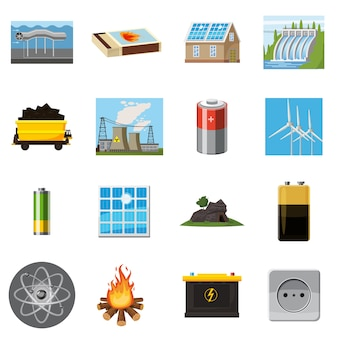 Energy sources items icons set, cartoon style