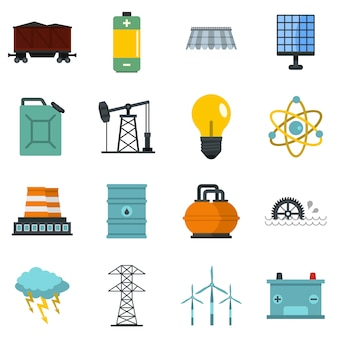 Energy sources items icons set in flat style