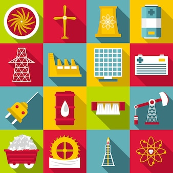 Energy sources symbols icons set, flat style