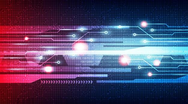 回路マイクロチップ技術の背景、ハイテクデジタルおよびインターネットの概念のエネルギー速度ライト