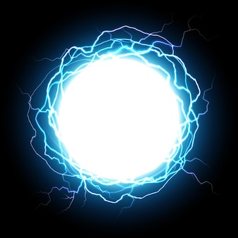 Energy sphere. electric plasma ball, explosion lightnings and electrical power illustration