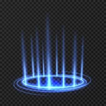 Energy spinning circle with blue glowing rays. fantasy portal, magic twirled teleport on floor