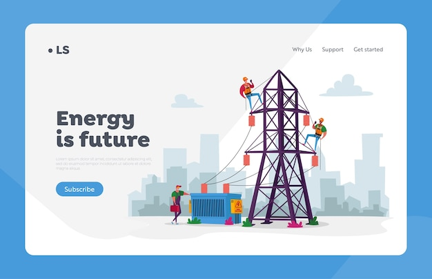 Energy station powerline in city landing page template