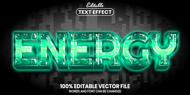 Energy text, font style editable text effect