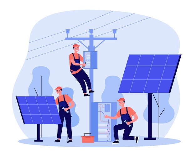 Energy workers servicing solar power plant