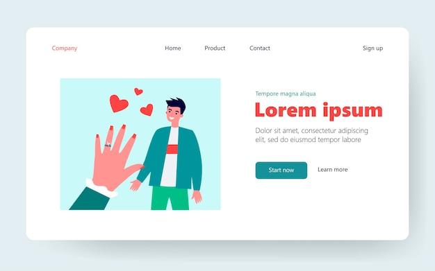 Влюбленный парень. рука невесты с обручальным кольцом. плоские векторные иллюстрации. пара, свадьба, концепция брака для баннера, дизайна веб-сайта или целевой веб-страницы