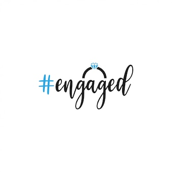 Engaged ring quote lettering typography