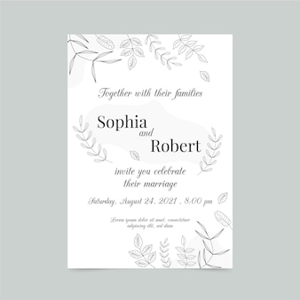 Engagement card template with elegant elements