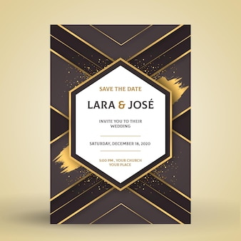Engagement card template with elegant motifs