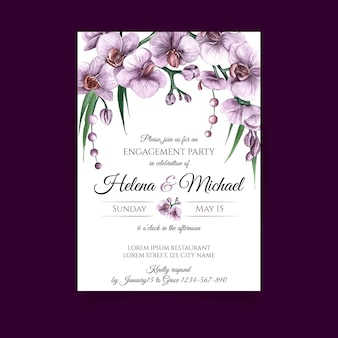 Engagement card template with floral elements
