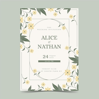 Engagement card template with floral ornaments