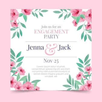 Engagement card template with flowers
