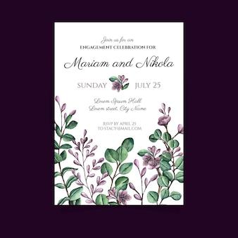 Открытка на помолвку с цветочными элементами