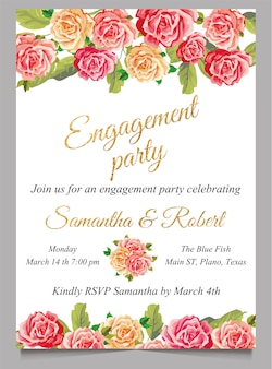 Engagement invitation card with flower and gold