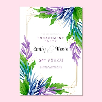 Engagement invitation floral template