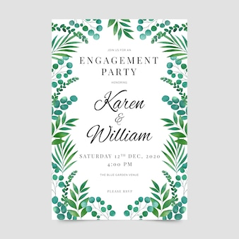 Engagement invitation template floral design