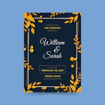 Engagement invitation template with elegant motifs