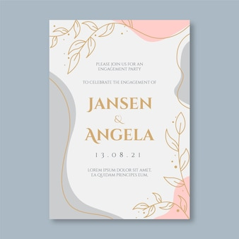 Engagement invitation template with elegant ornaments