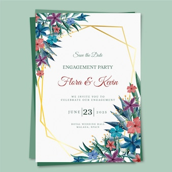 Engagement invitation template with floral motifs