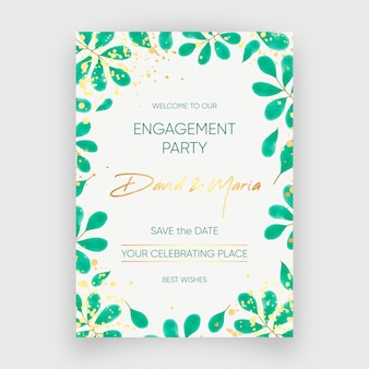 Engagement invitation template with floral ornaments