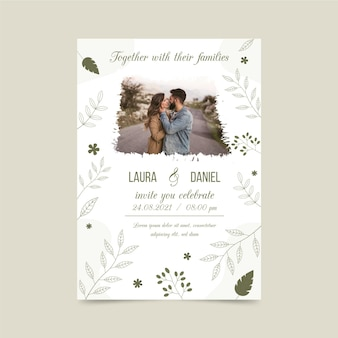 Engagement invitation template with photo of bride and groom