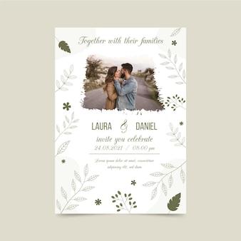 신부와 신랑의 사진과 함께 약혼 초대장 서식 파일