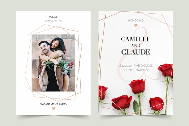 Engagement invitation template with photo