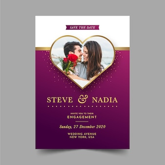 Engagement invitation template with picture