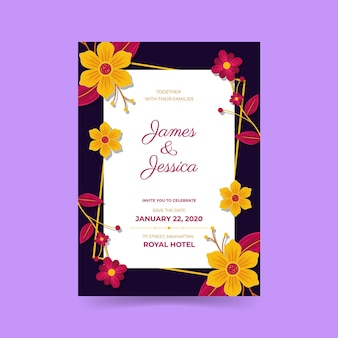 Engagement invitation with colorful flowers