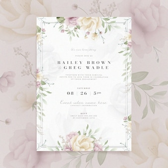 Engagement invitation with floral design