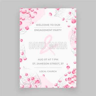 Engagement invitation with floral ornaments