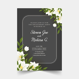 Engagement invitation with flowers template