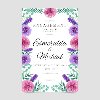 Engagement party floral invitation