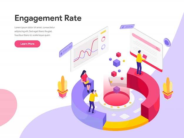 Engagement rate isometric illustration concept