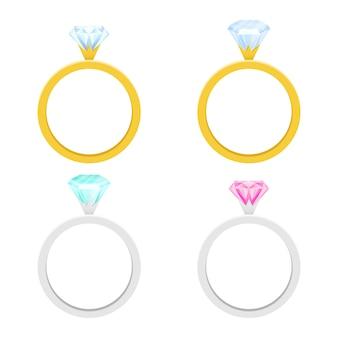 白い背景の上の婚約指輪の図
