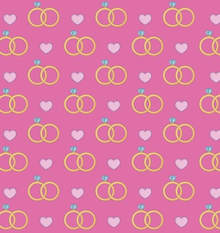 Engagement rings and hearts background
