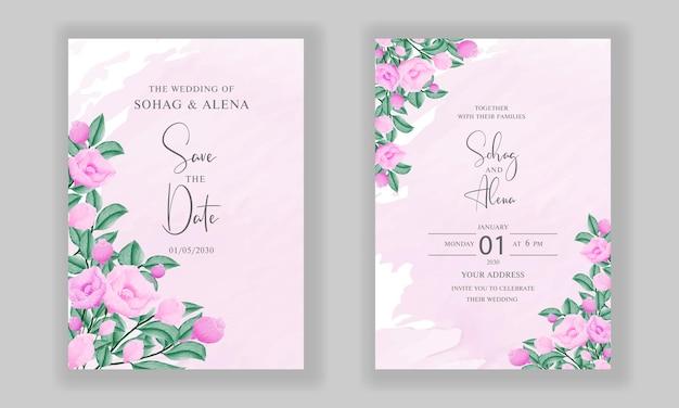 水彩の柔らかいピンクの花の婚約結婚式の招待カードのデザイン
