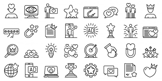 Engaging content icons set, outline style