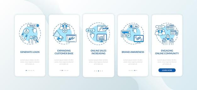 コンセプトを備えたオンラインコミュニティオンボーディングモバイルアプリページ画面のエンゲージメント。ブランド認知度のチュートリアル5ステップのグラフィックの説明。 rgbカラーイラストとuiベクトルテンプレート