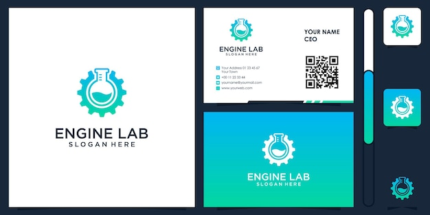 Engine lab logo with business card design vector premium