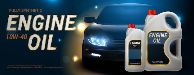Engine oil banner realistic plastic canister for motor oil