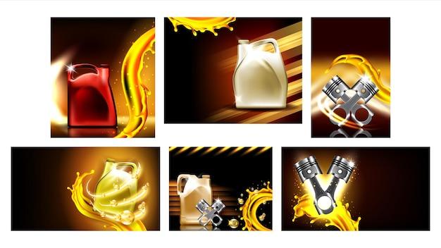 Плакаты службы ремонта автомобилей моторного масла набор векторных. коллекция различных креативных рекламных баннеров с цилиндром детали автомобильного двигателя, контейнером с моторным маслом и всплеском макета, реалистичные 3d иллюстрации