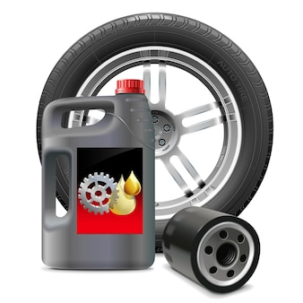 Engine oil with oil filter and tire isolated on white background