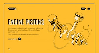 Engine pistons service, repair shop isometric web banner.