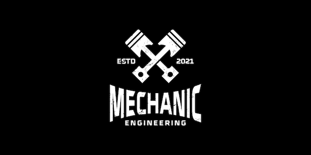 Ремонт двигателя винтажный дизайн логотипа вдохновение