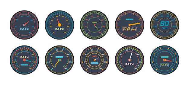 Engine speedometer icons set in flat design