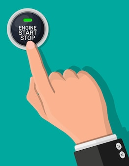 Кнопка запуска и остановки двигателя с подсветкой и рукой. запуск двигателя автомобиля. современный выключатель пуска и остановки автомобилей.