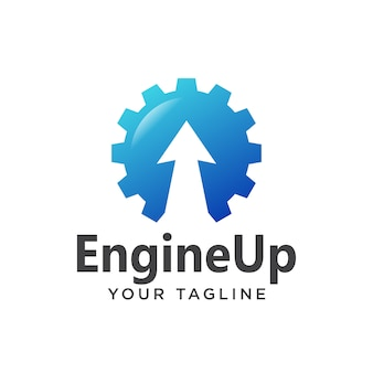 Engine up logo modern 3d